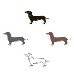 Dachshund icon in cartoonblack style for vector