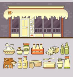 dairy shop and set of colorful food and drin vector image
