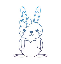 Degraded line happy female rabbit with ribbon bow vector