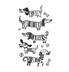 doodle dogs hand drawn funny animals cute vector image
