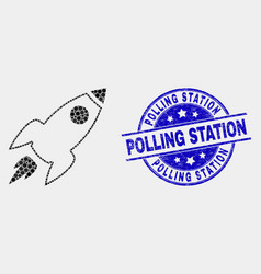 Dot space rocket icon and scratched polling vector