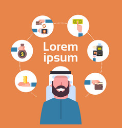 Electronic payment concept arab man using mobile vector