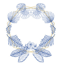 elegant blue frame of tropical leaves and polygons vector image
