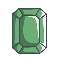 emerald diamond in a flat style vector image