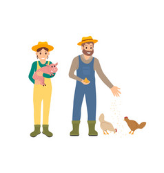 Farmer and pig man with hens vector