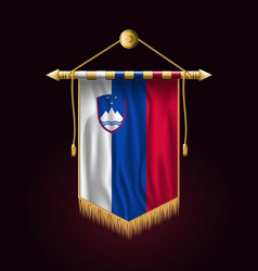 flag of slovenia festive vertical banner wall vector image