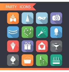 Flat Birthday Party Celebrate Icons and Symbols vector image