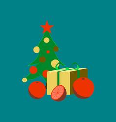 flat on background of christmas tree orange gift vector image