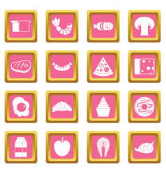 Food icons pink vector