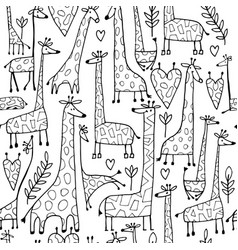 Funny giraffes sketch seamless pattern your vector