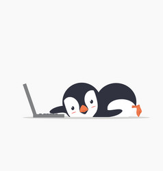 Funny penguin with a laptop vector