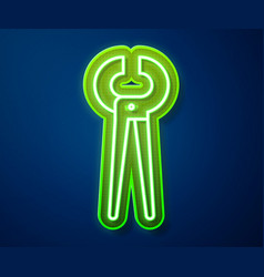 Glowing neon line pincers and pliers icon isolated vector