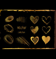 Golden set of the hand drawing hearts isolated vector