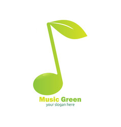 Green music logo design vector