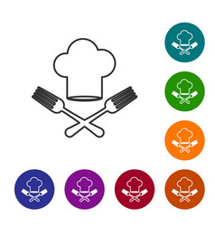 Grey line chef hat and crossed fork icon isolated vector