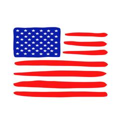 Grunge american flag icon drawn national flag usa vector