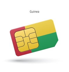 Guinea mobile phone sim card with flag vector