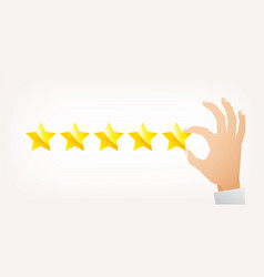 hand giving five star rating vector image