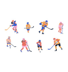 Happy children playing ice hockey vector