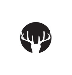 head deer animals logo black silhouete icons vector image