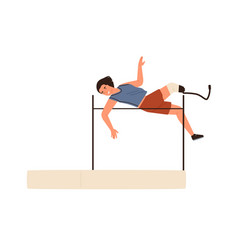 High jump disabled athletic woman performing vector