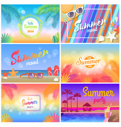 hot summer party 2018 hello summer mood banner vector image