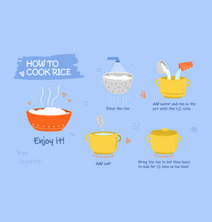 how to cook rice poster vector image