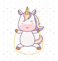 Kawaii unicorn playing with jump rope cartoon vector