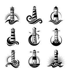 lighthouse logo business stylized marine symbols vector image