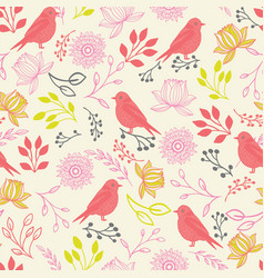 line art birds and flowers seamless pattern vector image