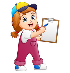 Little girl writing on a clipboard with pen vector
