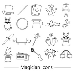 Magician and magic theme set of outline icons vector