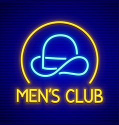 Male club for gentlemen neon vector