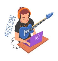 male musician guitarist player creative hobor vector image