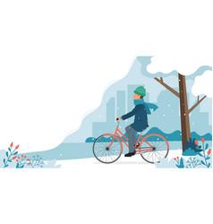 Man riding bike in park in winter cute vector