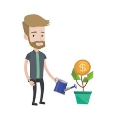 Man watering money flower vector