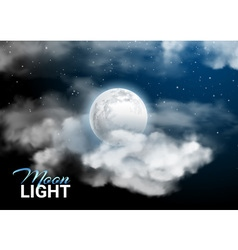 Moonlight night Full Moon Mystical sky Realistic vector