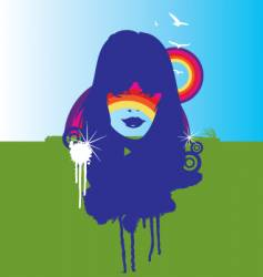 Nature and the rainbow illustration vector