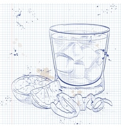 Negroni alcoholic cocktail on a notebook page vector