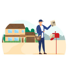 newspaper delivery concept vector image