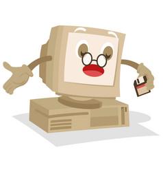 old computer mascot vector image