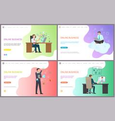 online business businessman laptops boss at job vector image