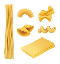 pasta realistic italian food farfalle fusilli vector image