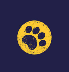 Paw print with grunge vector