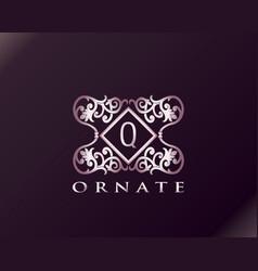 Pink luxury brand letter q elegant logo badge vector
