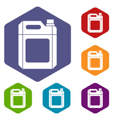 Plastic jerry can icons set vector