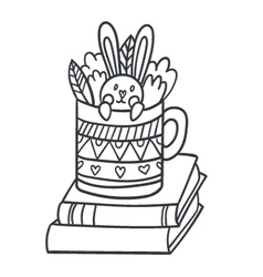 Postcard with adorable rabbit in teacup books and vector