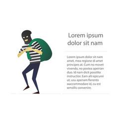 robber flat character design housebreaker thief vector image