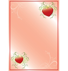 romantic pink frame with hearts vector image
