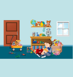 Scene with boy reading in room vector
